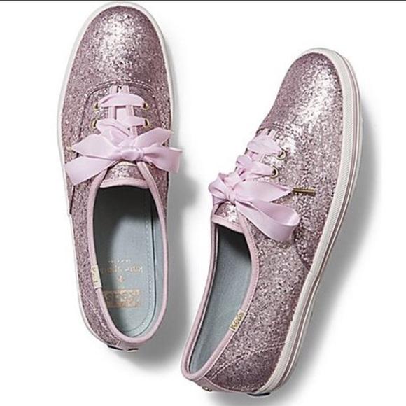 217e70f18edd NWT Keds Kate Spade Pale Pink Glitter Shoes!